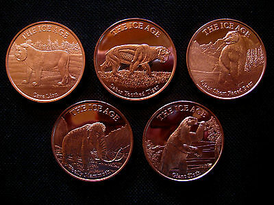 5 Ounce .999 Copper Round Ice Age Coin Set(5 Coins)