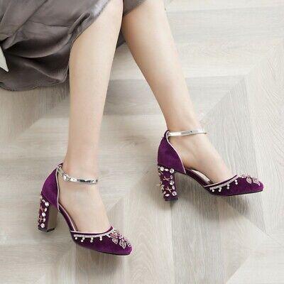 Details about  /Womens Ladies New Fashion Velvet Diamante Block Heel Court Mary Janes Shoes AKIQ