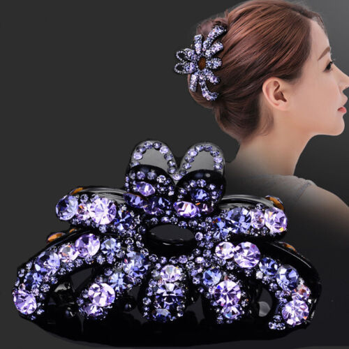 Women Rhinestone Large Hair Claw Fully-jewelled Clip Jaw Pin Clamp Acrylic Lot