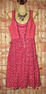 vintage austria dirndl oktoberfest cotton floral corset