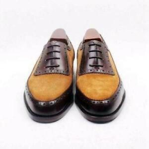Scarpe-formali-stringate-da-uomo-in-vera-pelle-marrone-e-camoscio-beige-fatte