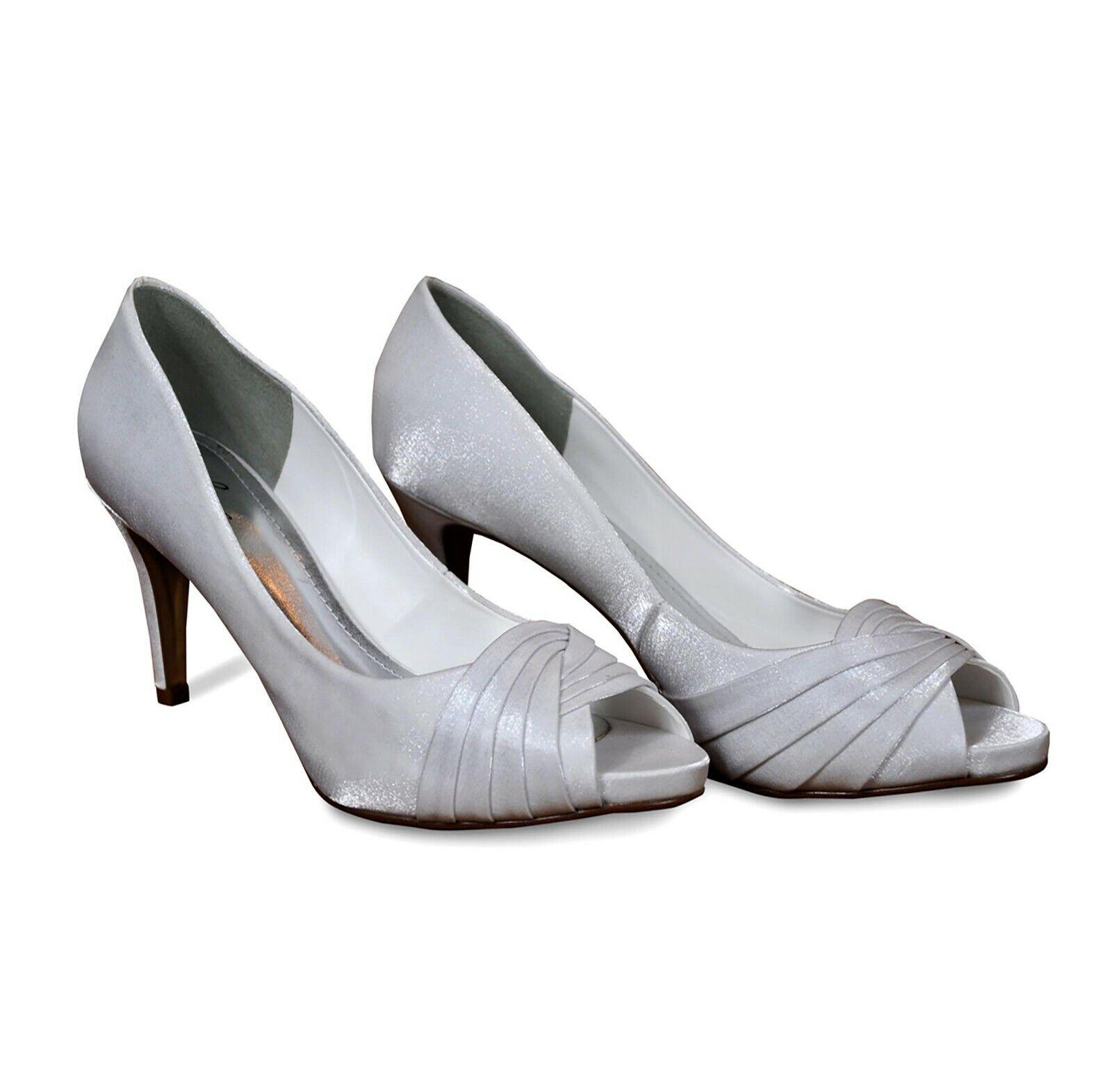 Open Toe Wedding Shoes / Peep Toe Bridal Shoes / White Wedding Shoes Size 7 UK