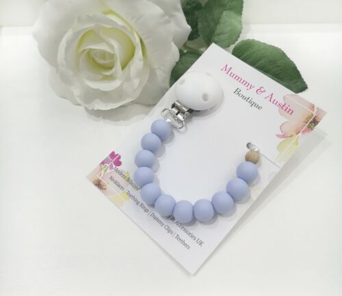 Pale Blue Dummy Clip Dummy Holder can be personalised with a letter of choice