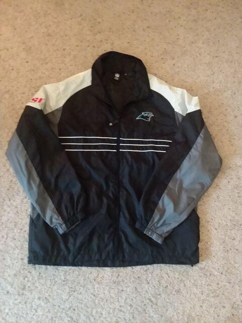 NFL Mens Carolina Panthers Reebok Windbreaker Jacket Full Zip Black White L 7695d02d7