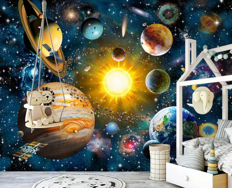 3D Universum 7452 Mauer Papier Exklusiv MXY Fototapete Abziehbild Innen Mauer