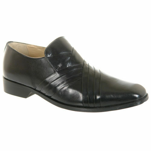 Herren schwarzes Designer Leder Kreuz Plissee Italienischer Designer schwarzes SMART Schuhe 3b287b