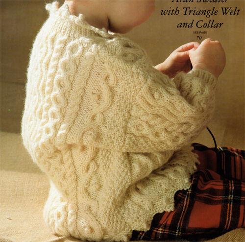 Knitting pattern- Childs DK Aran styleSweater with trangle welt & collar-1-3 yrs
