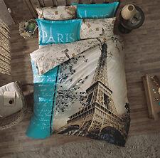 100%Cotton,Paris Duvet Cover Set,COMFORTER INCL,Single/Twin,4pc