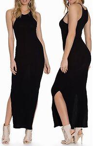 Women Ladies Jersey Spot On Rib Knee High Slits Long Design Maxi Dress Size 6-14 Damenmode