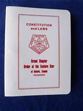 ORDER OF THE EASTERN STAR GRAND CHAPTER ONTARIO CANADA CONSTITUTION & LAWS BOOK