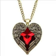 Sweater Chain Vintage Red Rhinestone Angel Wing Necklace Heart Pendant