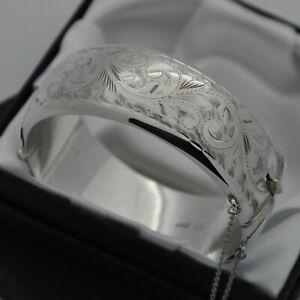 1962-Vintage-Wide-amp-Heavy-925-Silver-1-2-Engraved-Scroll-Design-Bangle-Bracelet
