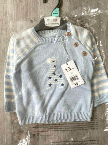 BNWT Mothercare Bebé Chicos Azul Blanco Suave Algodón Tejido Jirafa Suéter Jumper
