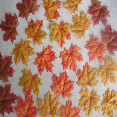 100-1000pcs Fall Silk Leaves Wedding Favor Autumn Maple Leaf Decorations
