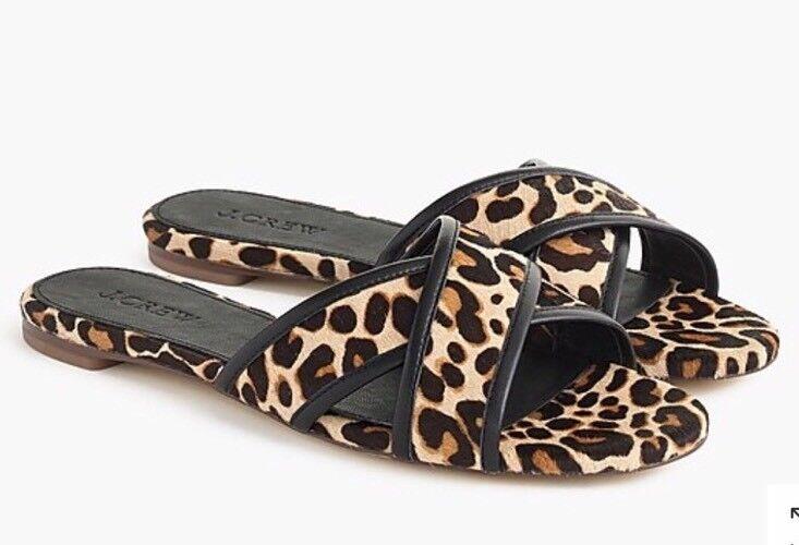 NWOB JCREW Leopard Cora crisscross Sandale Größe6.5  H8778 In Chocolate Sepia
