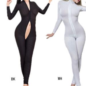 Image is loading Women-Sexy-Lingerie-Sheer-Bodysuit-Zipper-Open-Crotch- 413bae122
