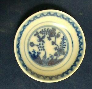 Vintage-Meissen-Blue-Rock-amp-Bird-Pattern-Butter-Pat-Fels-amp-Vogel-plain-edge
