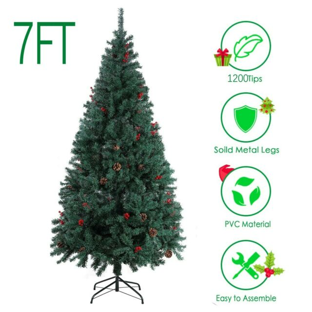 7ft White Christmas Tree Snowy Artificial Traditional Xmas Trees Thick 6ft
