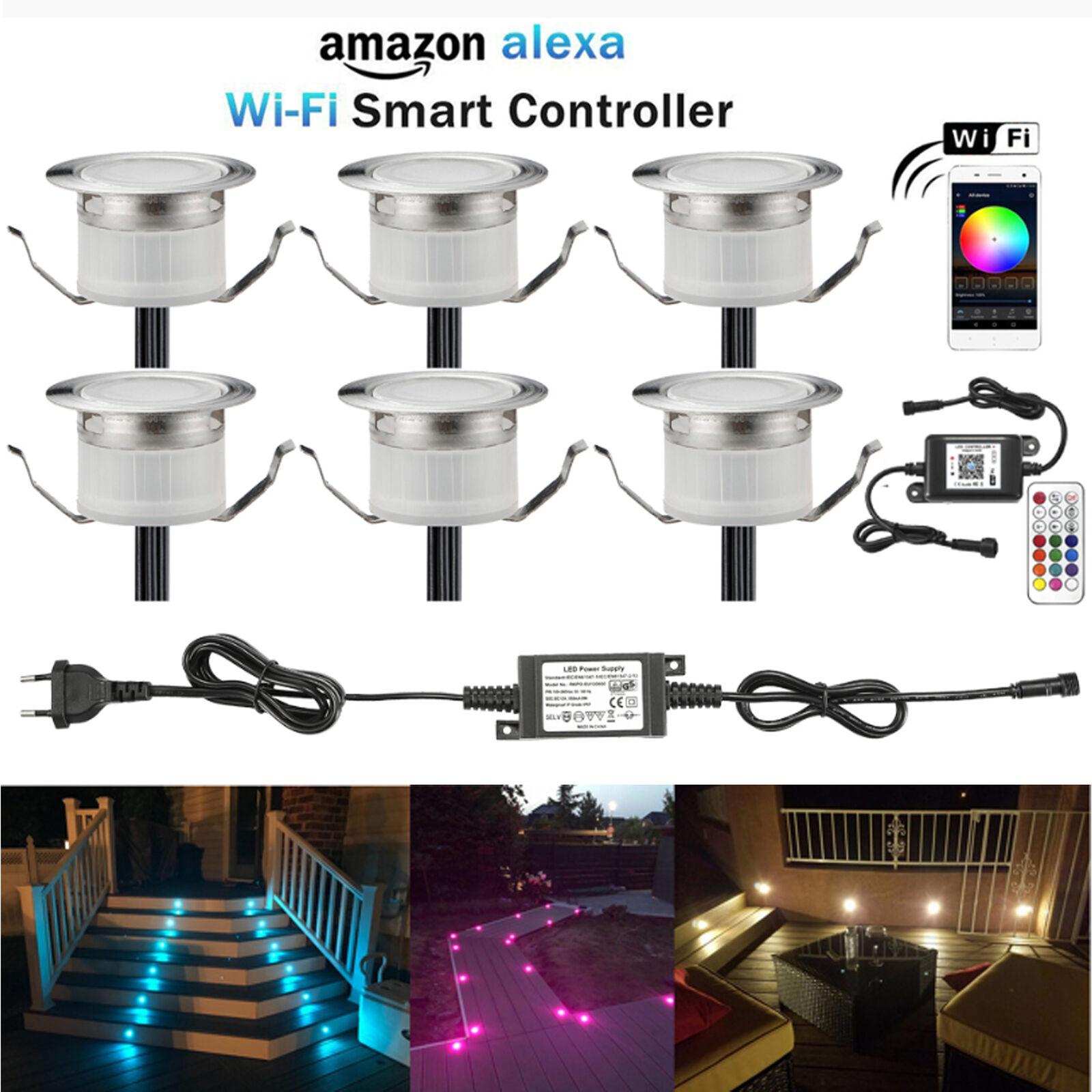 6er Set 31mm WIFI Kontroller RGBW LED Bodeneinbauleuchten Außen Garten Lampe 12V