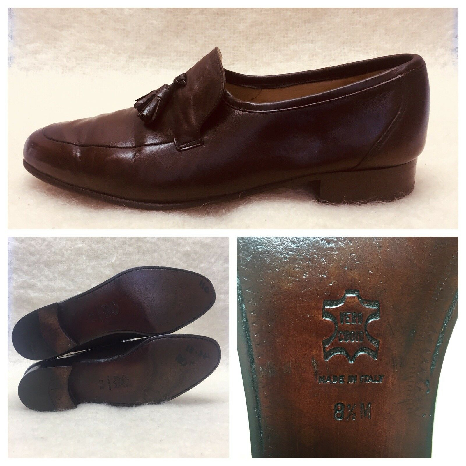 Bruno Magli Soft  On Dress Leder Tassel  Herren Größe 8.5 Slip On  Loafer Braun  53ac1b