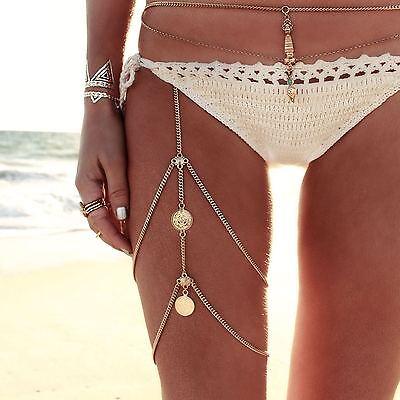 HOT Multi-layer Fashion Thigh Leg Chain Jewelry Body Bikini Beach Harness Summer
