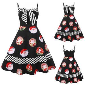 Women-Christmas-Plus-Size-Bow-Color-Block-Striped-Santa-Print-Vintage-Dress-AU
