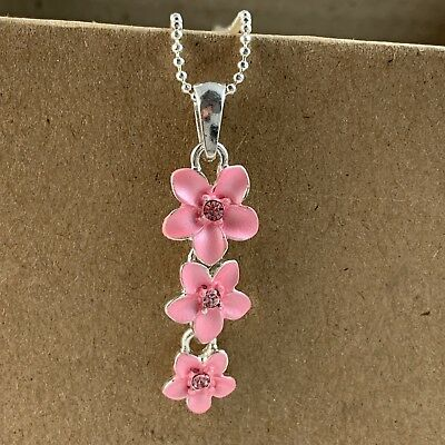 Hawaiian Pink Cz Triple Plumeria Flower 18 Inch Necklace Hawaii