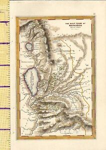 c1832 HAND COLOURED MAP ~ THE HALF TRIBE OF MANASSEH ~ BEYOND JORDAN