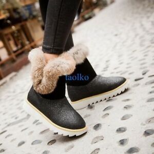 Fashion-Women-039-s-Winter-Warm-Ankle-Snow-Boots-Fur-Lined-Flat-Heel-Shoes-Plus-Size