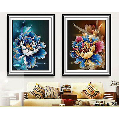 5D Mosaic Diamond DIY Peony Flower Painting Wall Sticker Home Decor