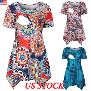 Women-Pregnant-Maternity-Clothes-Nursing-Tops-Breastfeeding-Pattern-Shirt-Blouse