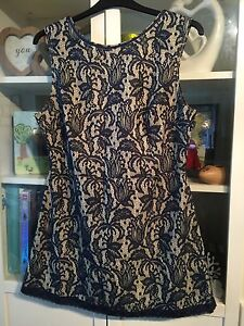 I55-Atmos-Plus-16-18-20-Navy-Lace-Nude-Lined-32-034-Long-Tunic-Dress