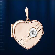 585 Rotgold 14kt Medaillon Anhänger Herz. FLEUR DE LIS. Herzmedaillon für Foto