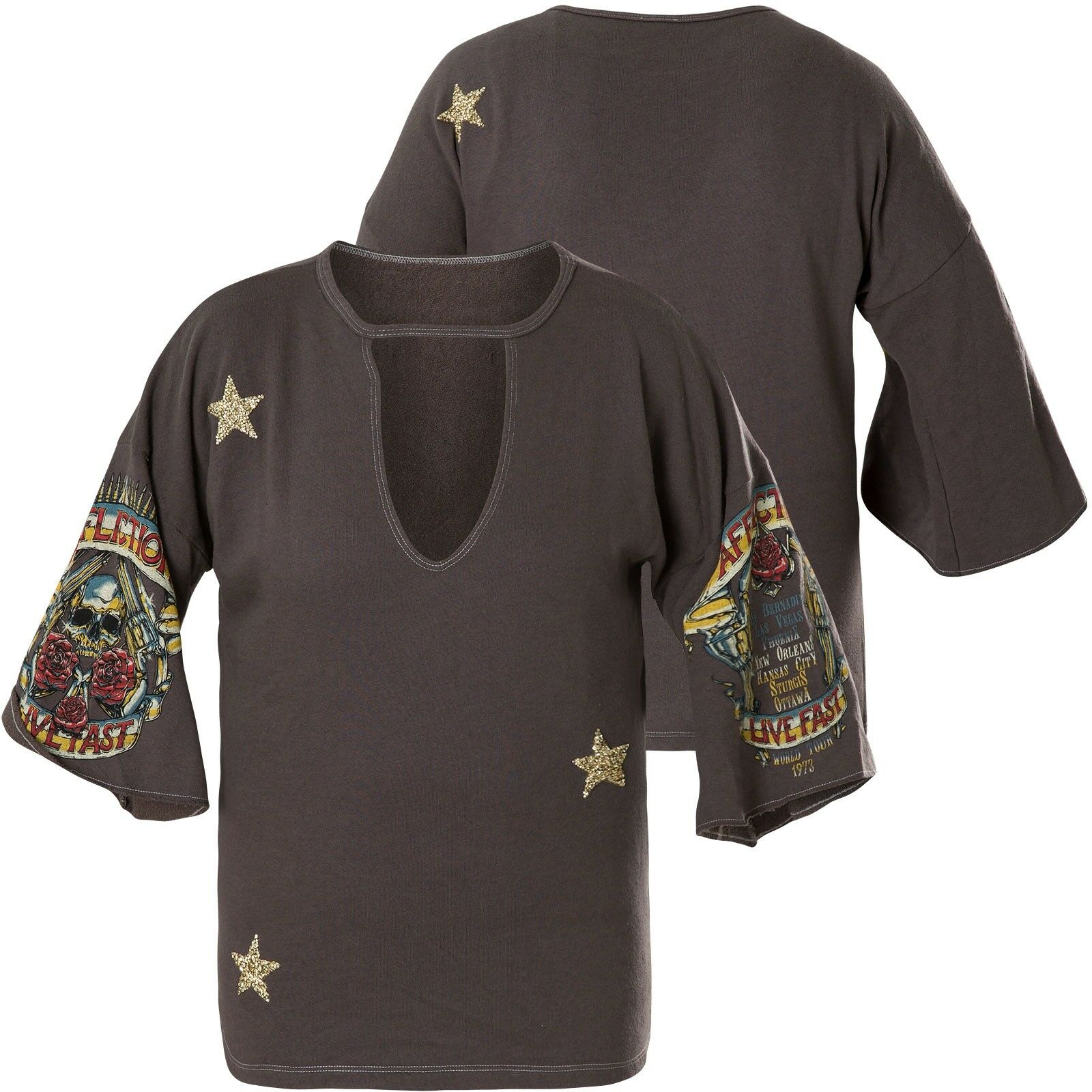 Affliction Woman Long Sleeve Raglan Hollow Point Grey
