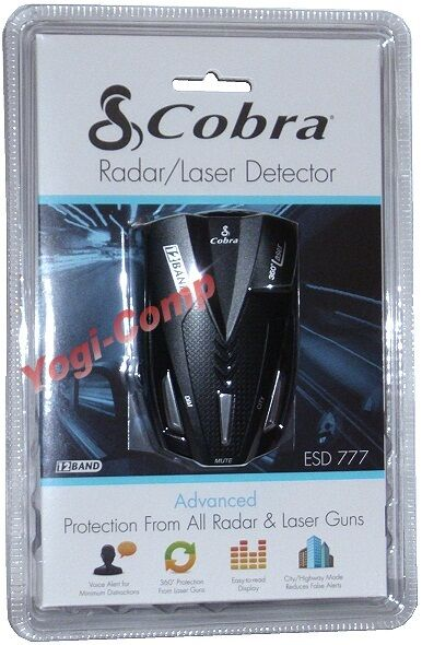 OPEN BOX Cobra ESD777 ESD-777 12 Band Laser Radar Detector w/ 360 Degree