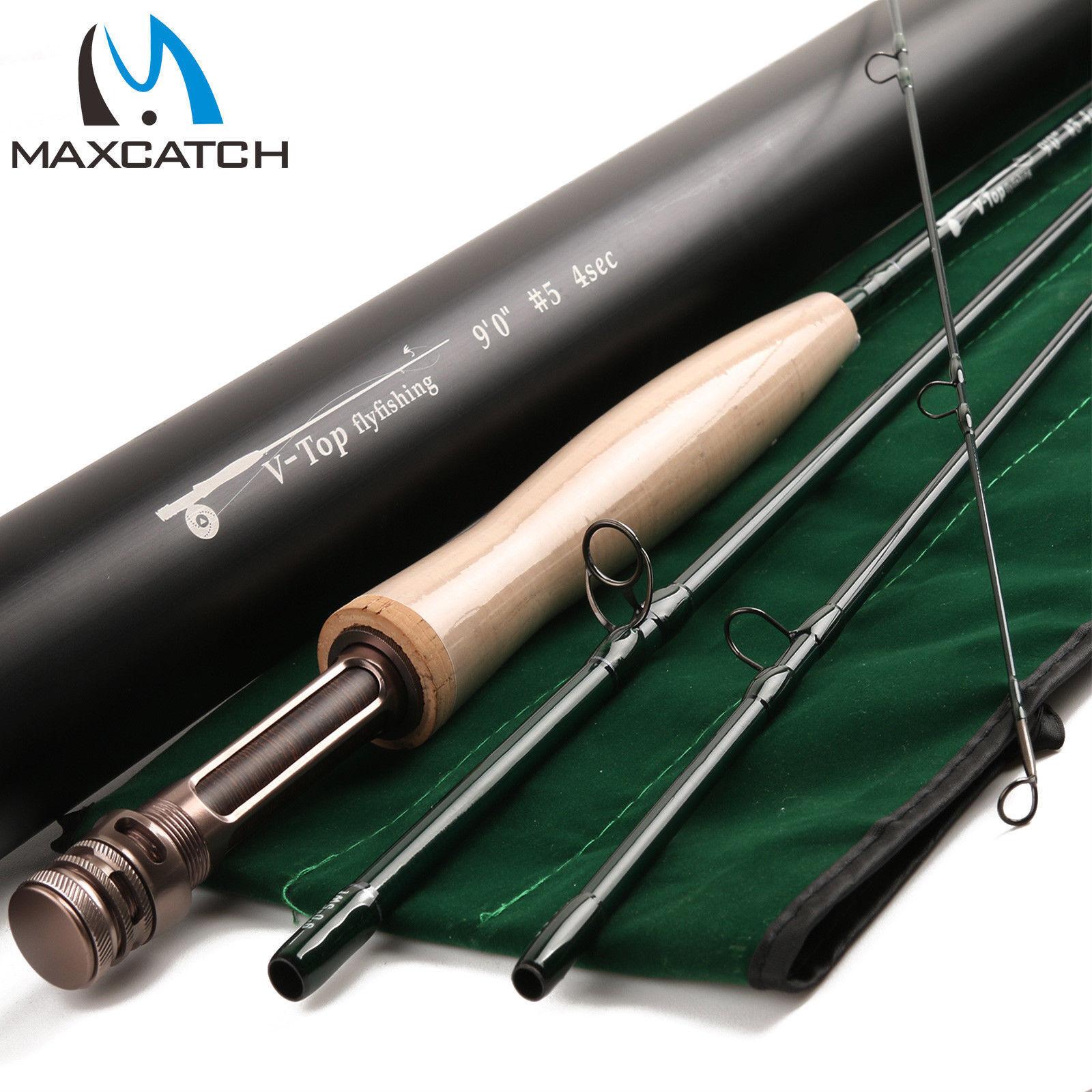 Maxcatch Fly Rod v-Top 9FT 5 6 8WT 4 piezas de acción rápida (IM12) con tubo de aluminio