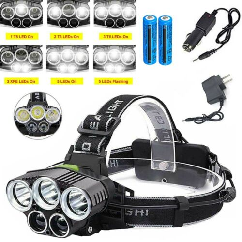 Details about  /High Powered LED Headlamp 990000LM Rechargeable Headlight Bright Head Torch Lot
