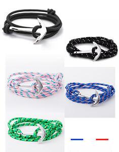 Bracelet,ancre,marine,mixte,homme,femme,Argent,Bleu,