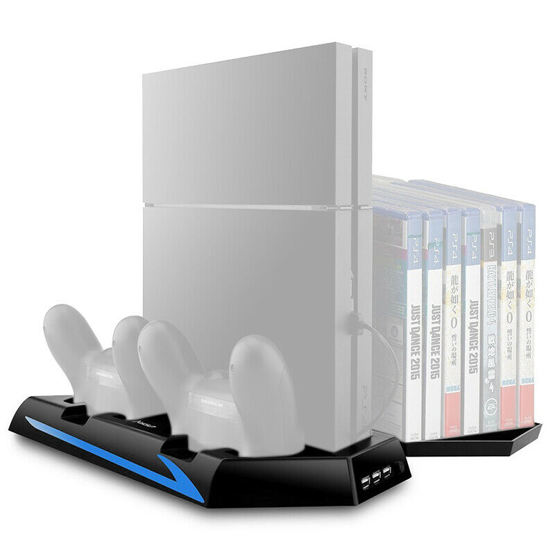 PS4 Stand Controller Charger Cooling Fan USB Hub Game Storage Dock Station Port