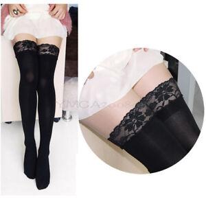 f98071725e5 Pantyhose Black Sexy Designer Women Thick Lace Top Opaque Thigh High ...