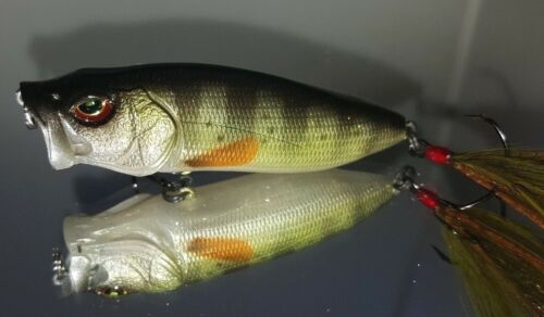 Custom Painted BASS SNAX Pop'n Maxx  Topwater Lure Yellow Perch