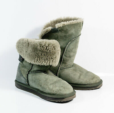 Emu Australia Alba Sheepskin Fur Lined Flat Ankle To Mid Calf Winter Boots Sz 8 Ebay