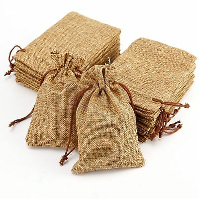 10//50//100Pcs Wedding Favor Hessian Burlap Jute Gift Bags Drawstring Pouch Home