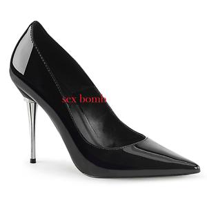 Descuento barato Sexy DECOLTE' a PUNTA tacco metallico 10 cm NERO LUCIDO dal 35 al 46 scarpe chic