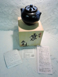 Stunning-Black-amp-Blue-Japanese-Kiyomizu-Yaki-Ware-Incense-Pot-New-in-Box