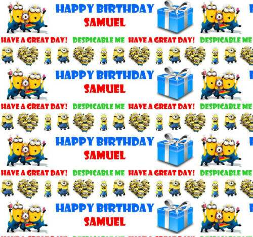 Personalised Birthday Wrapping Paper  DESPICABLE ME MINIONS Any Name Any Age