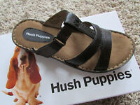 Hush Puppies Heidi Black Leather Slide Sandals Womens 6 Free Ship