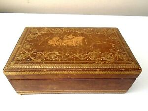 VTG-Italian-Genuine-Leather-Trinket-Jewelry-Cigarette-Box-W-Gold-Embossing