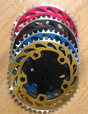 """BMX Bicycle Bike Sprocket Chainring 1//2 x1//8/"""" x 44T Alloy Red Blue Gold Black"""