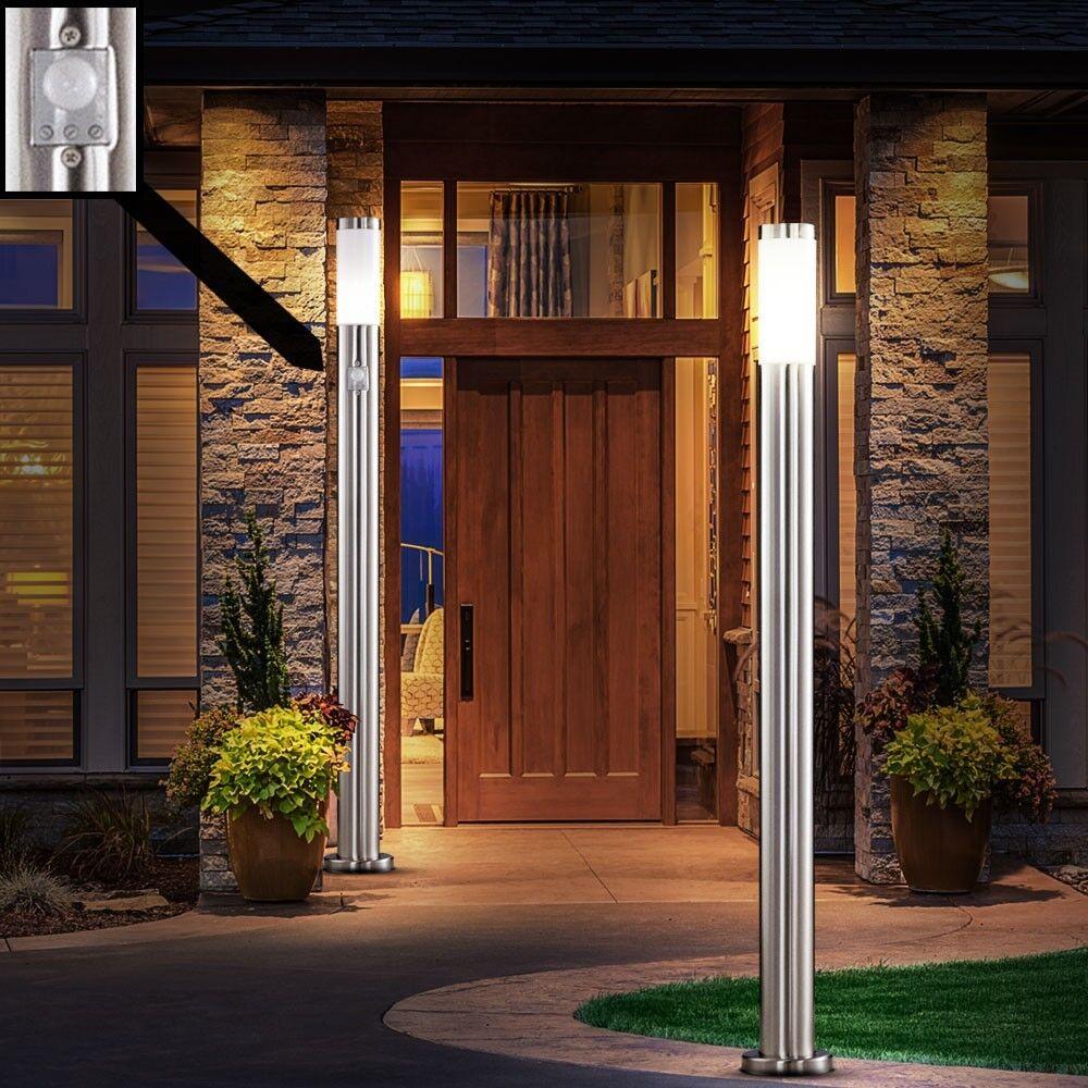 2 x lampadaire extérieur détecteur de mouvement senseur éclairage inox jardin